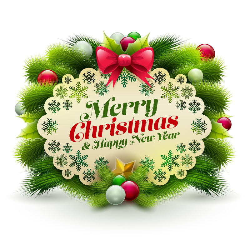矢量圣诞贺年信贺卡与饰品