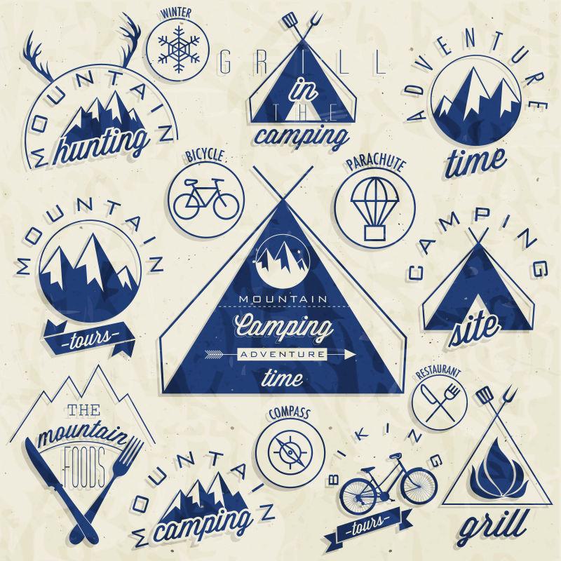 蓝色复古矢量标签贴纸样式设计图