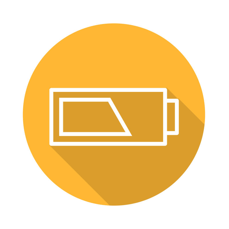 黄色矢量电池图标