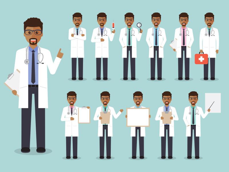 非洲男性矢量医疗团队