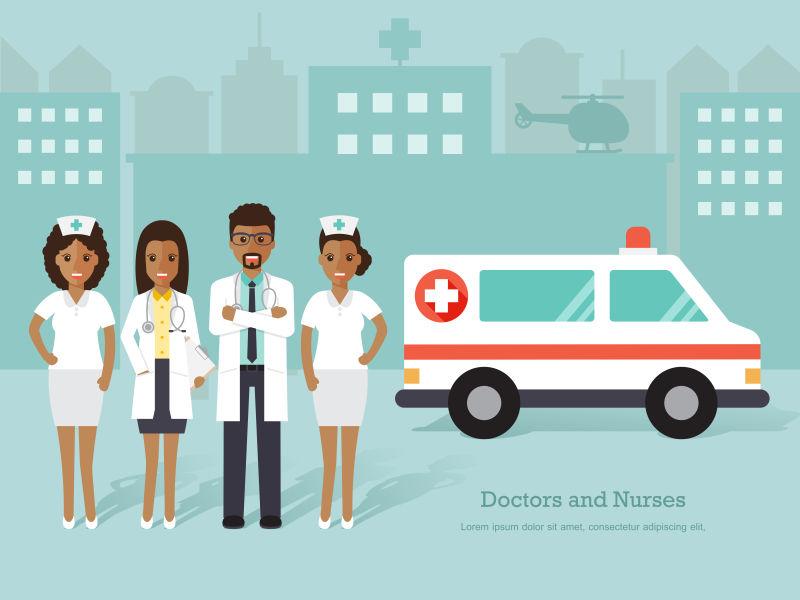 非洲医生和护士的矢量平面设计