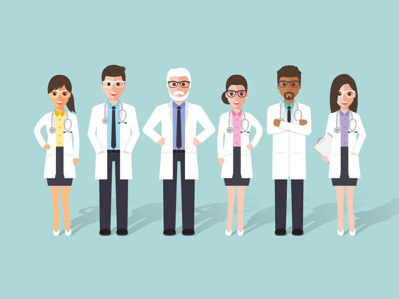 不同医务人员矢量平面设计