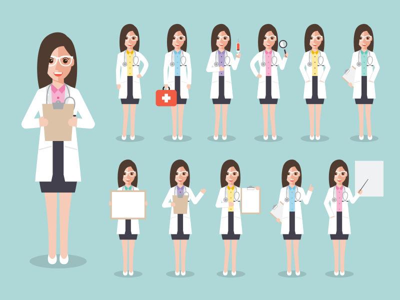 矢量女医务人员平面设计