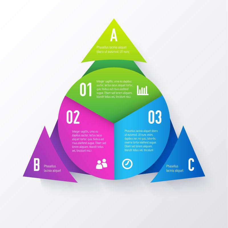 彩色三角形信息图表矢量设计