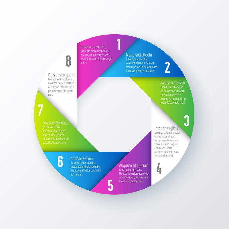 矢量的彩色圆形信息图表设计