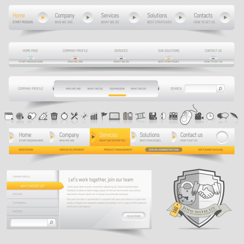 手机软件设计元素模板矢量图