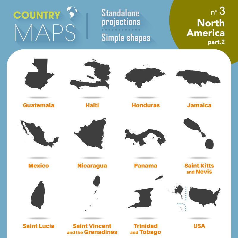矢量国家地图黑色背景轮廓
