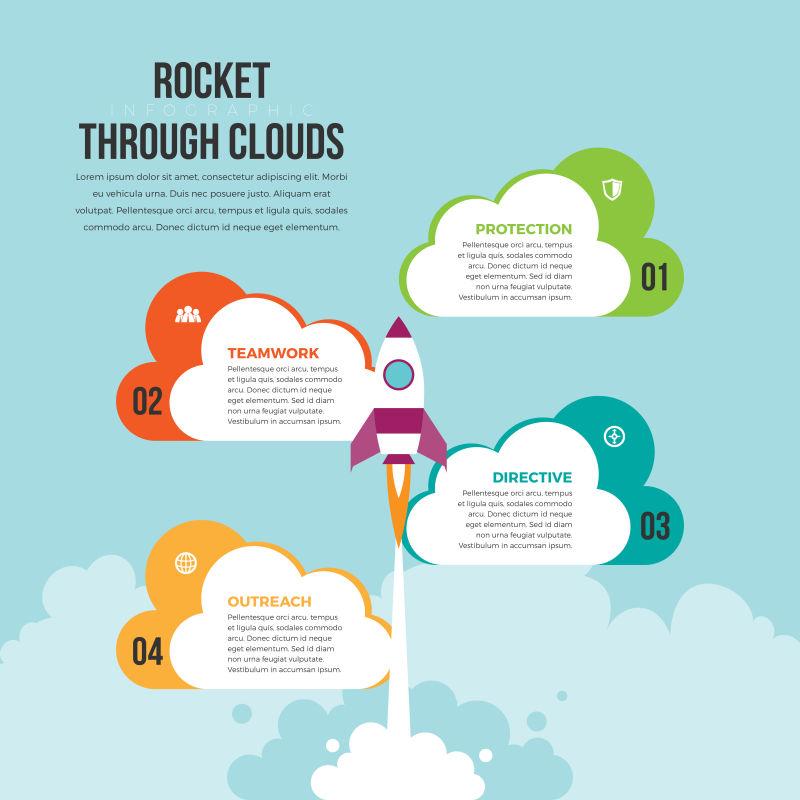 火箭发射信息图形设计元素的矢量插图