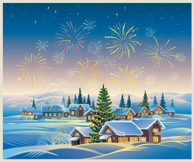 圣诞节放烟花的风景矢量