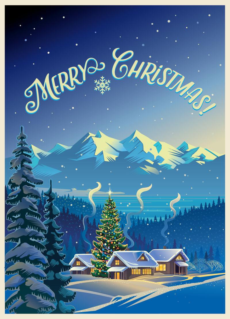 冬季圣诞节风景矢量