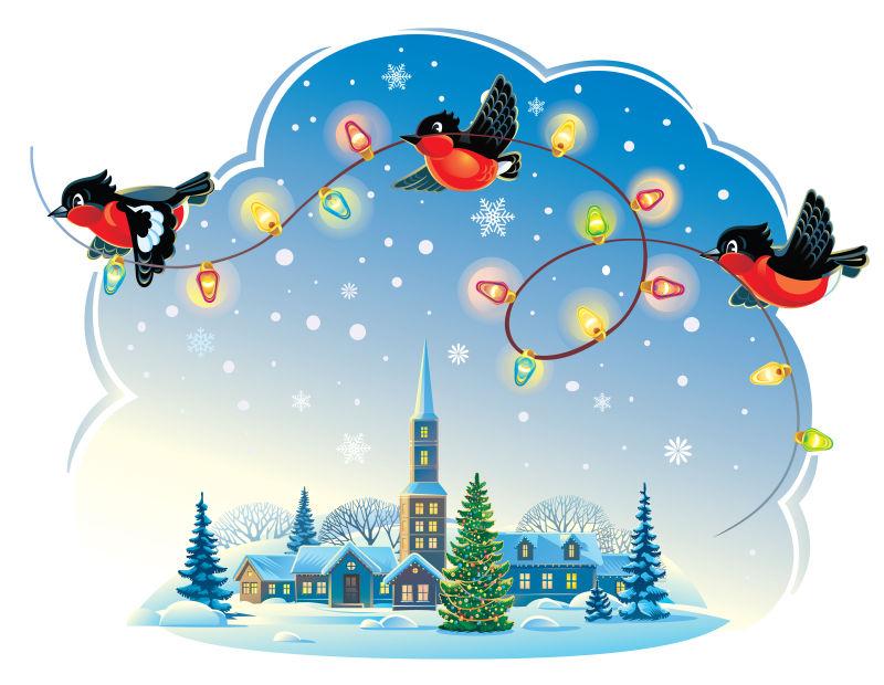 圣诞节三只咬着电线的小鸟矢量