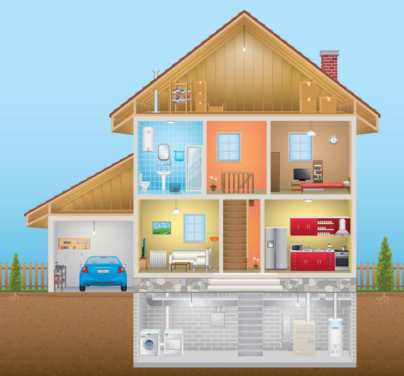 创意矢量抽象房子内部的平面设计插图