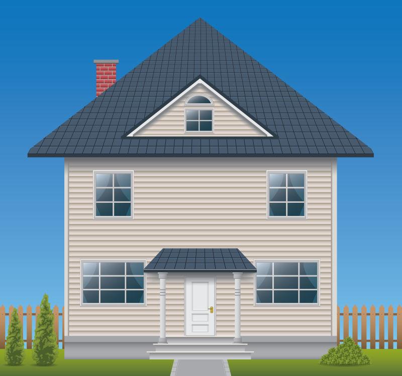 矢量抽象房屋外部的平面插图