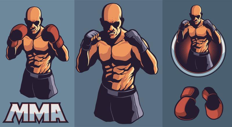 MMA战斗机俱乐部矢量设计元素的标志与可选拳击手套和框架