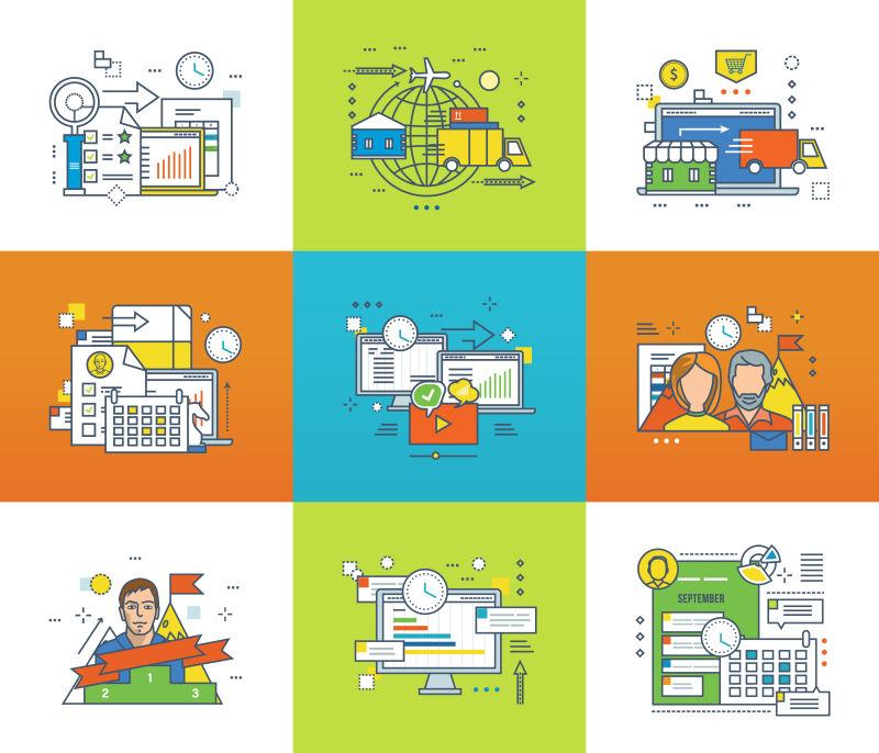 矢量统计分析和管理团队合作等插图
