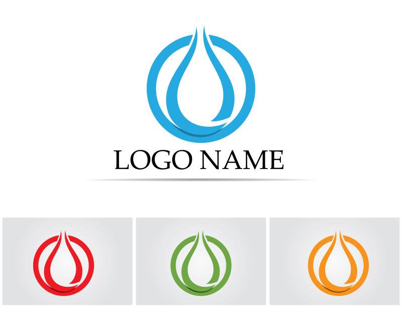 矢量的抽象创意水滴logo标志