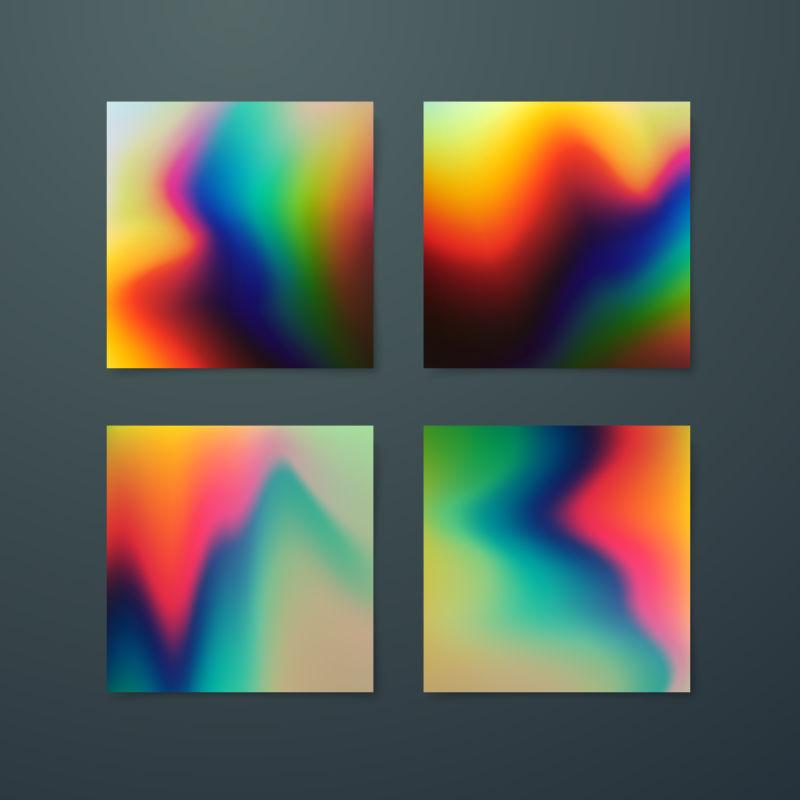 具有全息效果的彩虹颜色流体抽象设计矢量