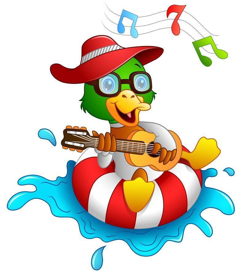 水上的弹吉他和唱歌矢量滑稽鸭