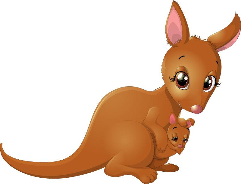 矢量可爱的袋鼠妈妈和宝宝插图