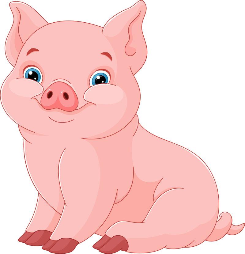 卡通可爱的猪矢量插图