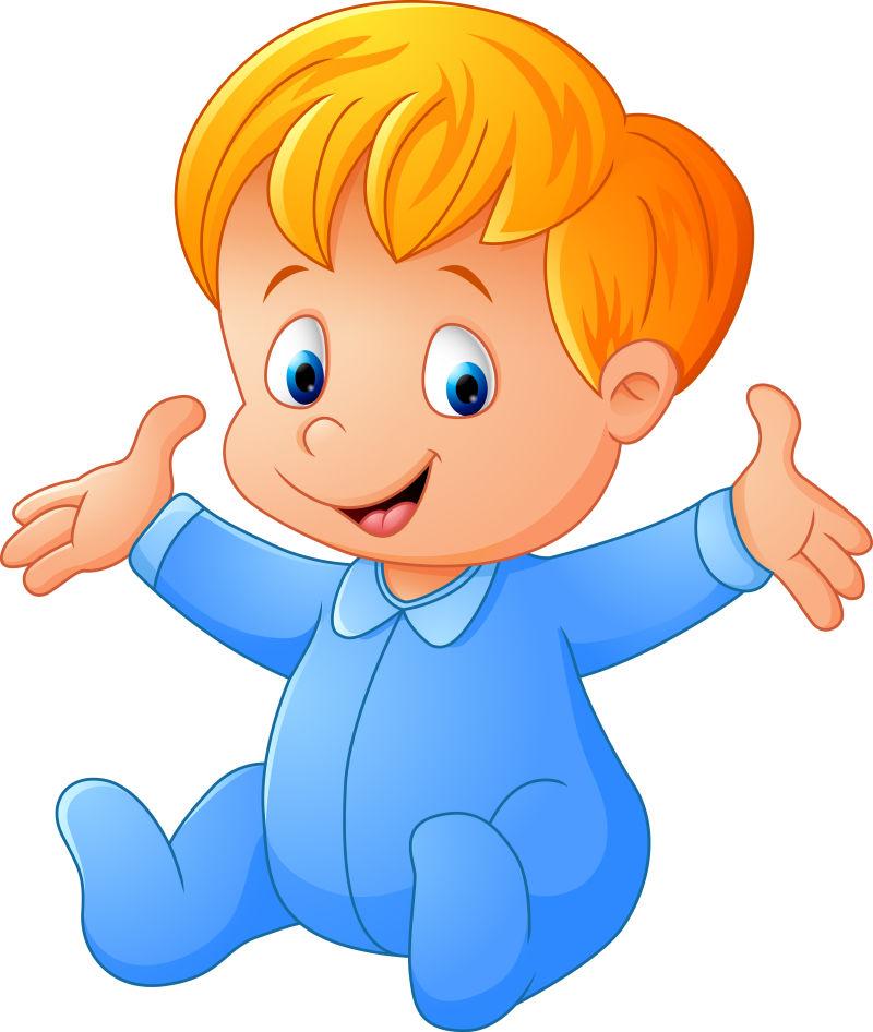 矢量卡通可爱的男宝宝插图