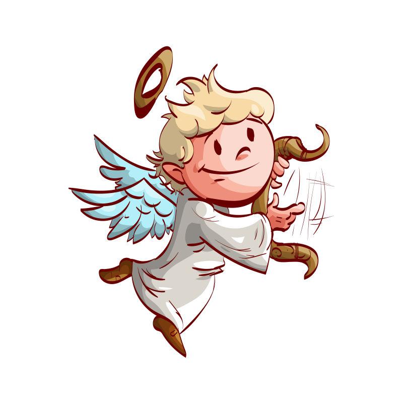 矢量卡通飞翔可爱的天使