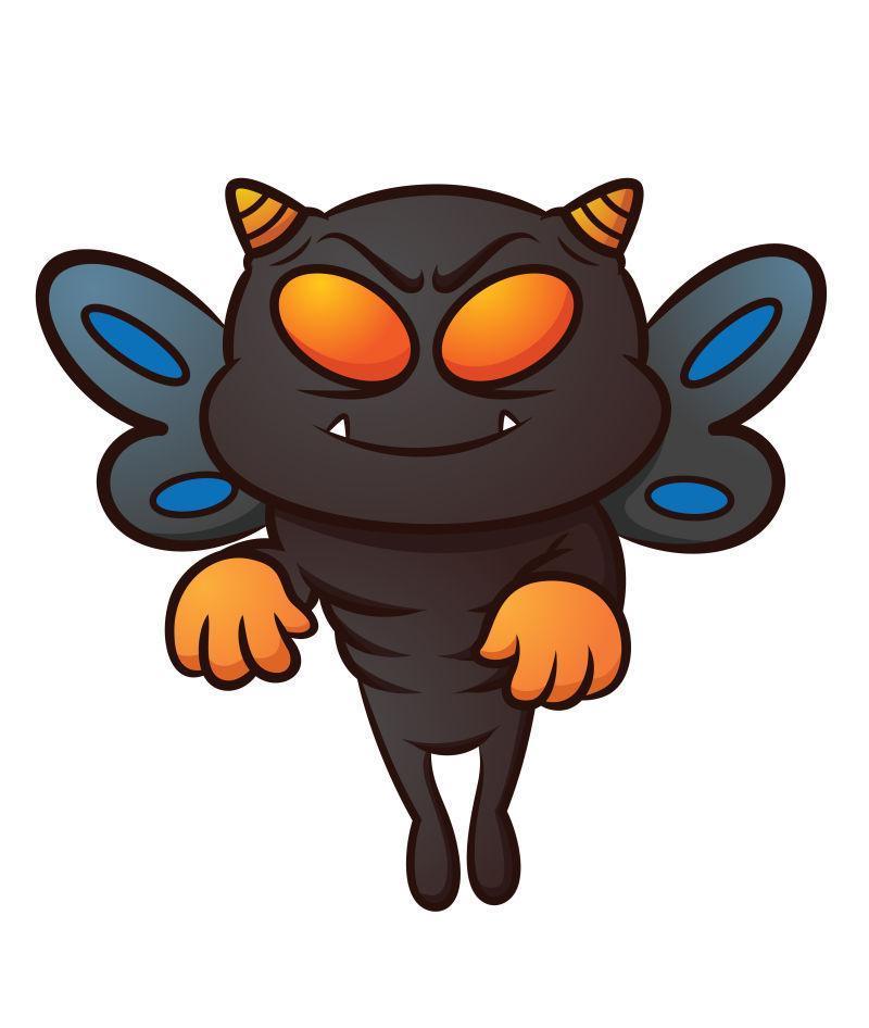 矢量卡通黑色怪物蝴蝶