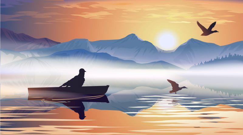 矢量一个漂浮在湖上的人的