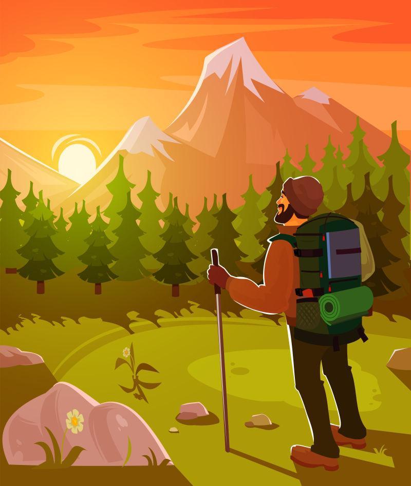 矢量游客在山间登山