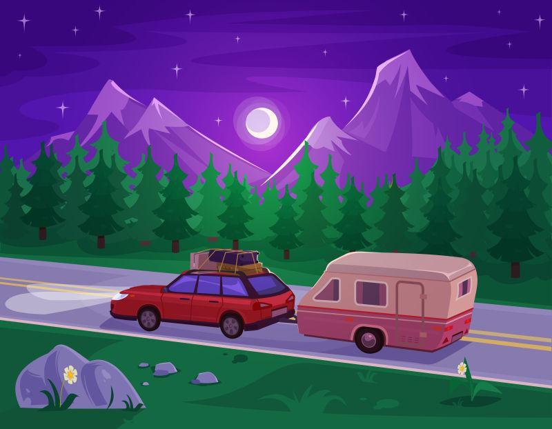 矢量夜晚山路拉货的车子