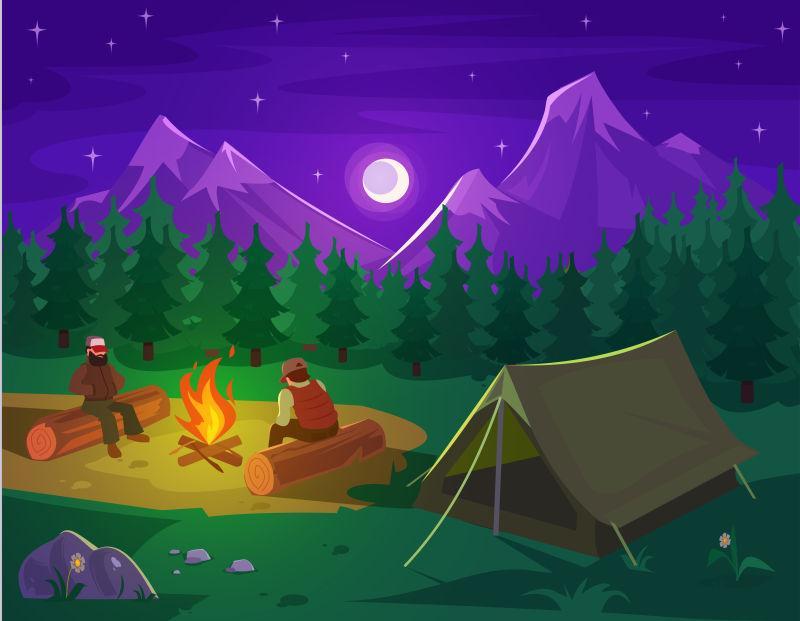 矢量山林露营帐篷