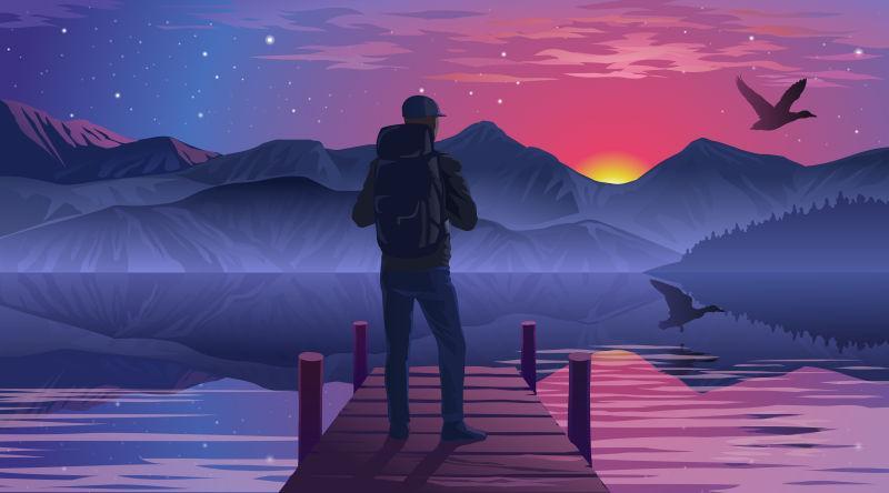 矢量在码头上欣赏日落的人