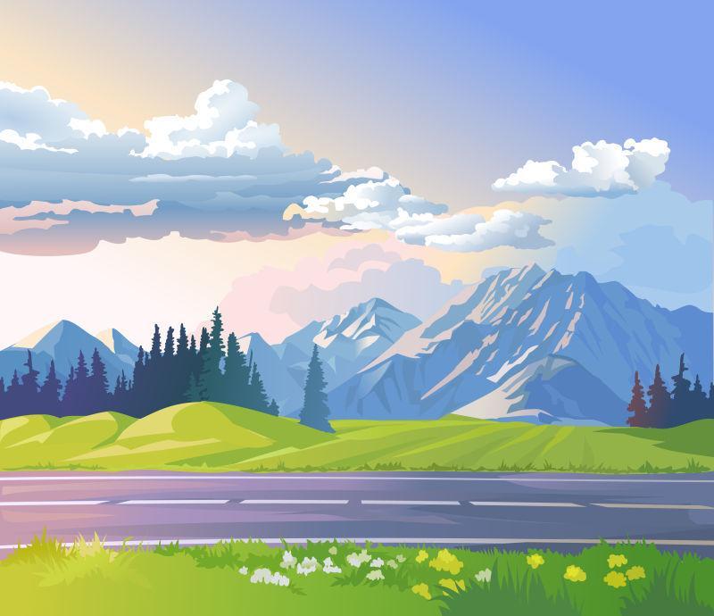 山地景观矢量图解