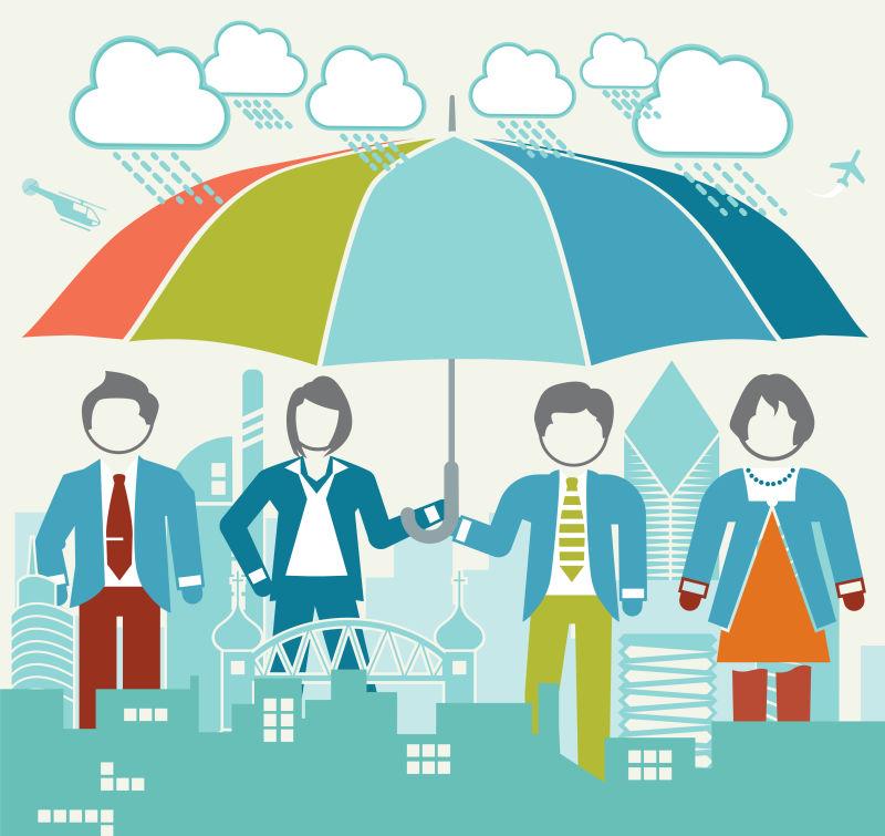 雨天合作打伞的团队矢量图