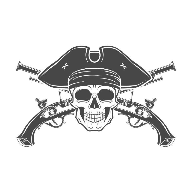 抽象矢量海盗骷髅的抽象插图设计