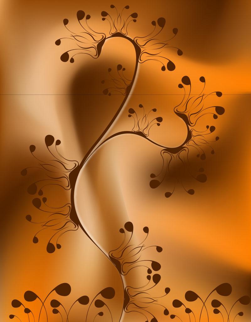 抽象手绘植物装饰矢量设计