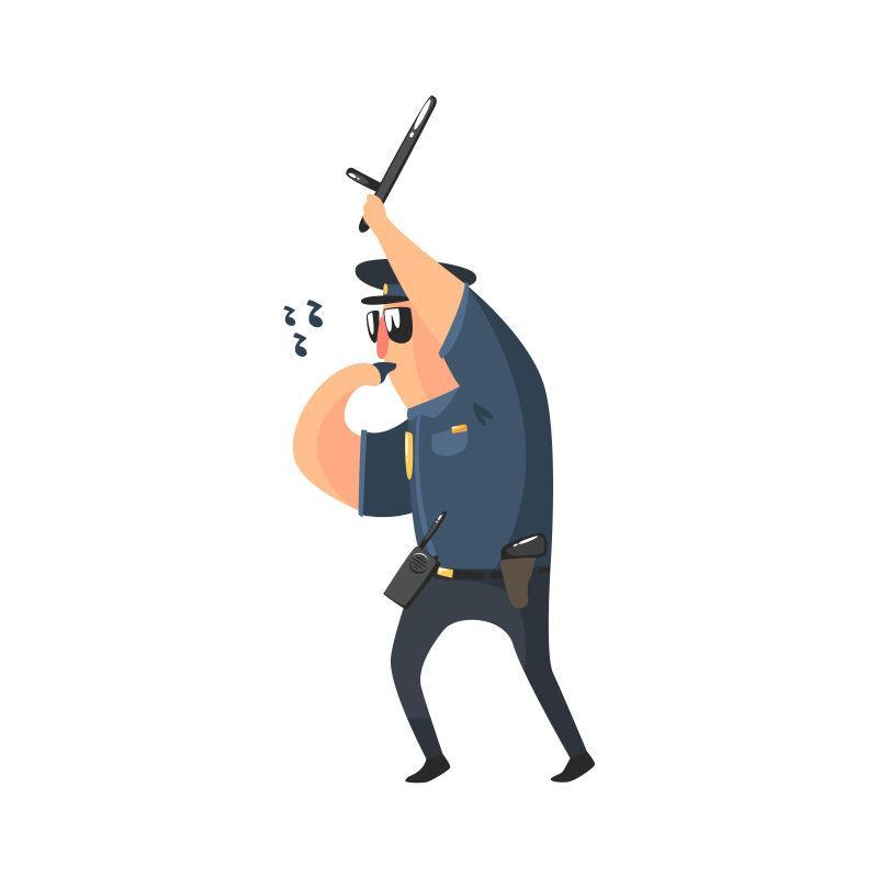 吹警哨的美国警察矢量图