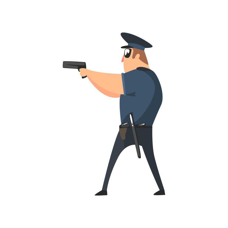 持枪的美国警察矢量图