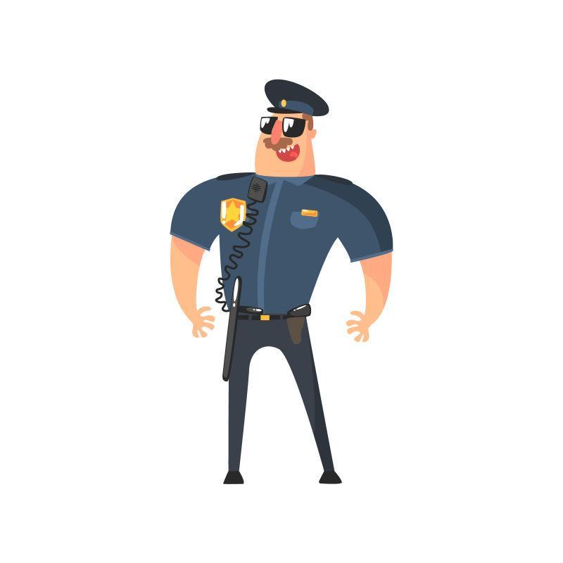 带着警棍的美国警察矢量图