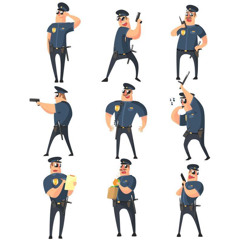 美国警察卡通娱乐风格矢量图