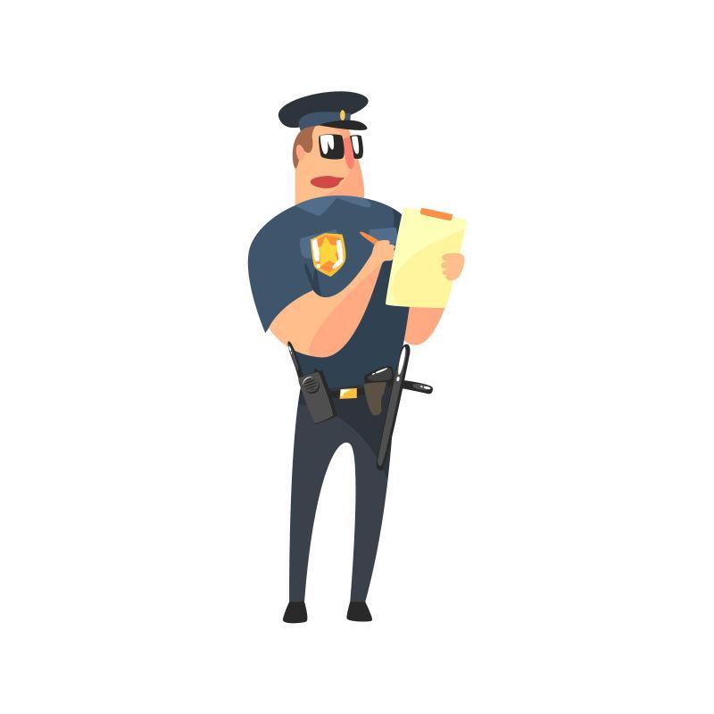写罚单的美国警察矢量图