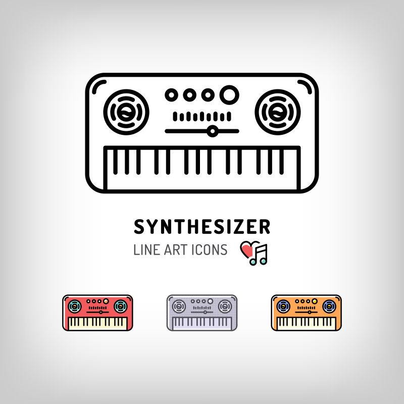 创意的音乐合成器图标矢量设计