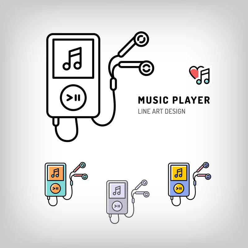音乐播放器图标矢量设计