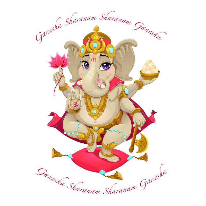 创意矢量卡通印度神像平面插图