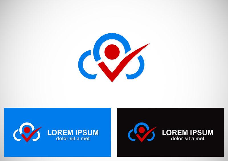 矢量云朵打钩logo设计