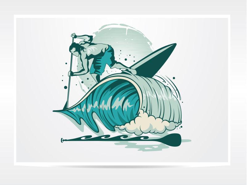 矢量创意桨叶水上运动人logo设计