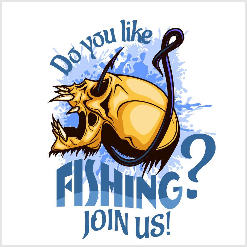 创意的钓鱼海报插图矢量设计