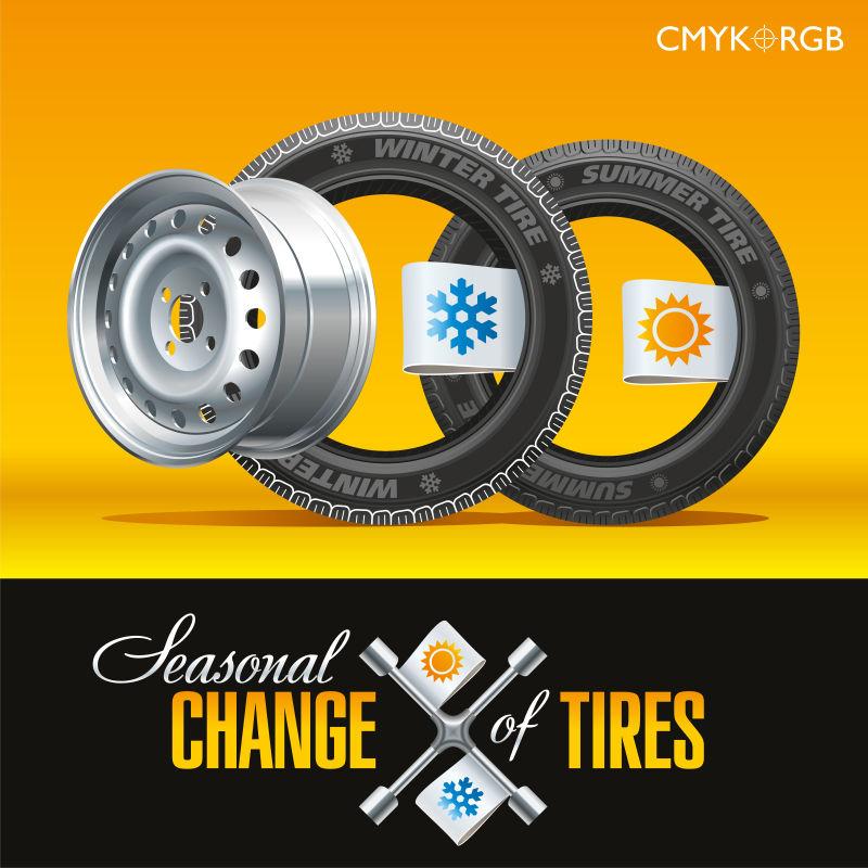 矢量汽车轮胎修理插图