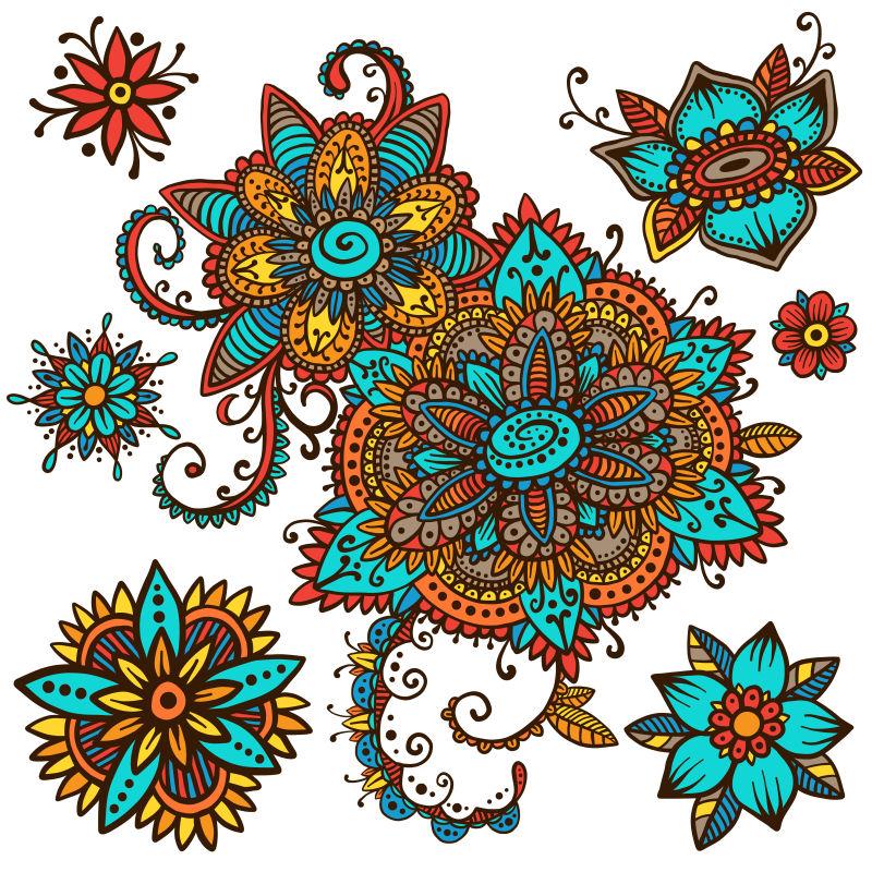 矢量复古民族风鲜花设计背景