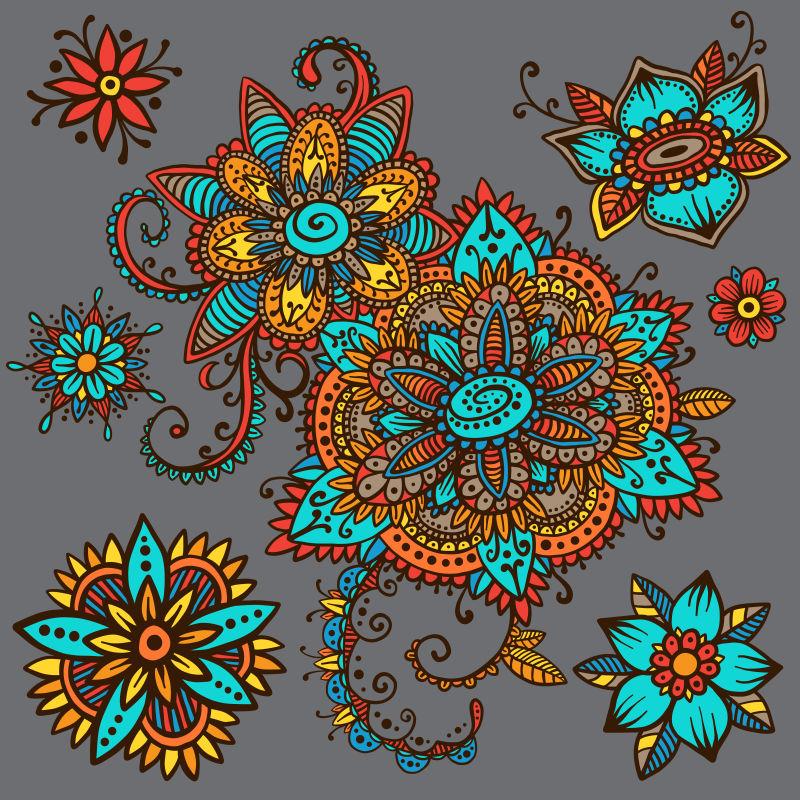 矢量复古民族风花卉设计背景